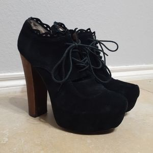 Betsey Johnson Suede Ankle Platform Boots